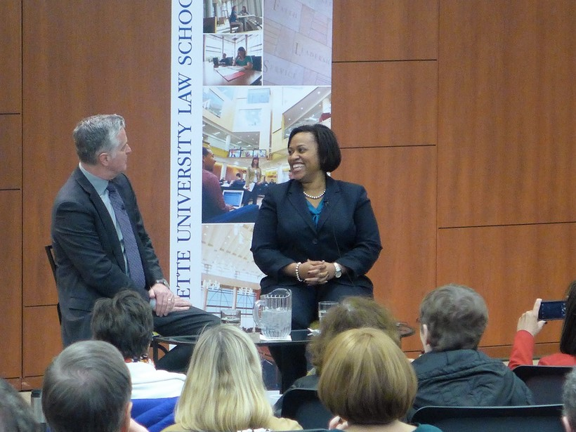 Milwaukee Public Schools Superintendent Darienne Driver speaks at Marquette University