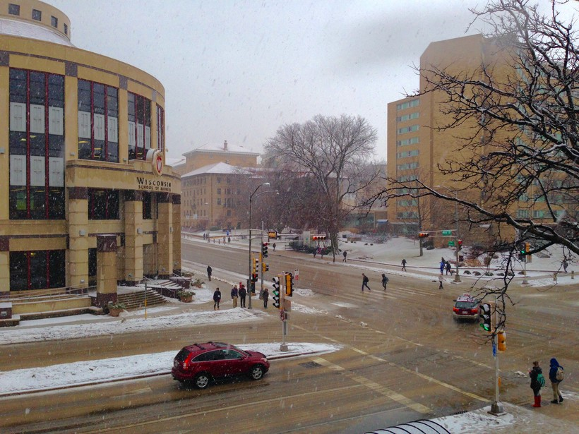 Snowstorm on the UW-Madison campus