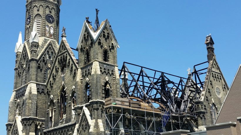Fire damage at Trinity Evangelical Lutheran Church