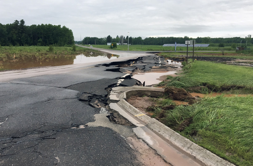 Ashland County Highway G damaged by flash flooding