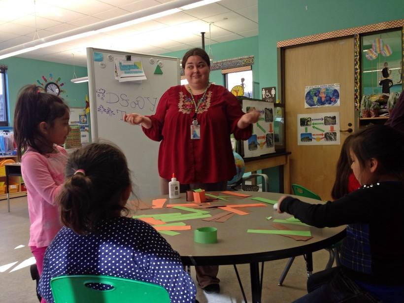 Rainy Brake leads an early childhood development class