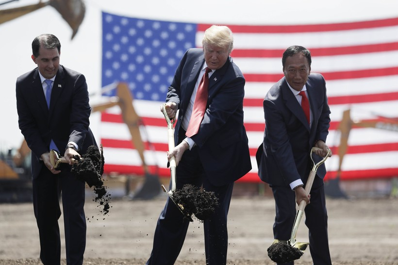 From left to right, Wisconsin Gov. Scott Walker, President Donald Trump and Foxconn Technology Group CEO Terry Gou participate in the groundbreaking ceremony of the Foxconn plant