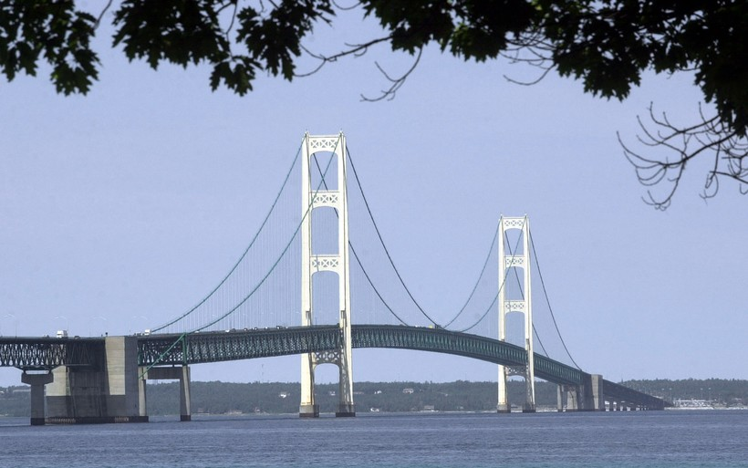 Mackinac Bridge over Straits of Mackinac