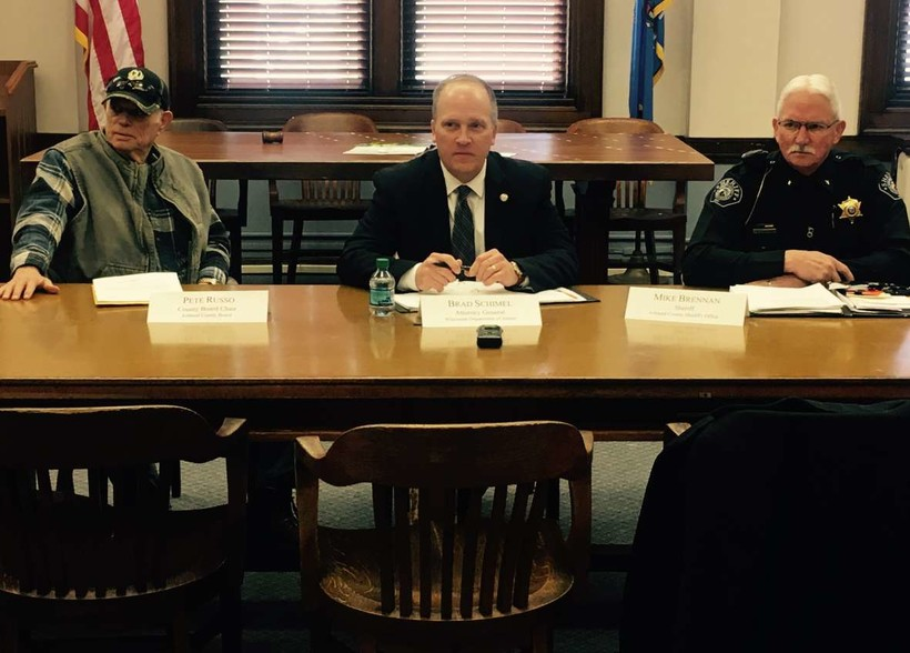 From left to right, Ashland County Board Chairman Pete Russo, Wisconsin Attorney General Brad Schimel and Ashland County Sheriff Mick Brennan