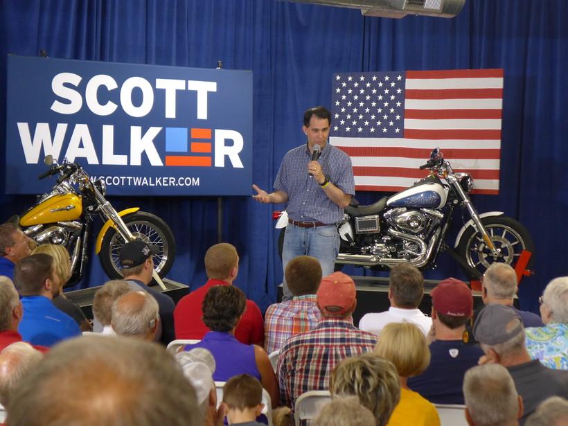 Scott Walker speaks at an Iowa Harley Davidson store