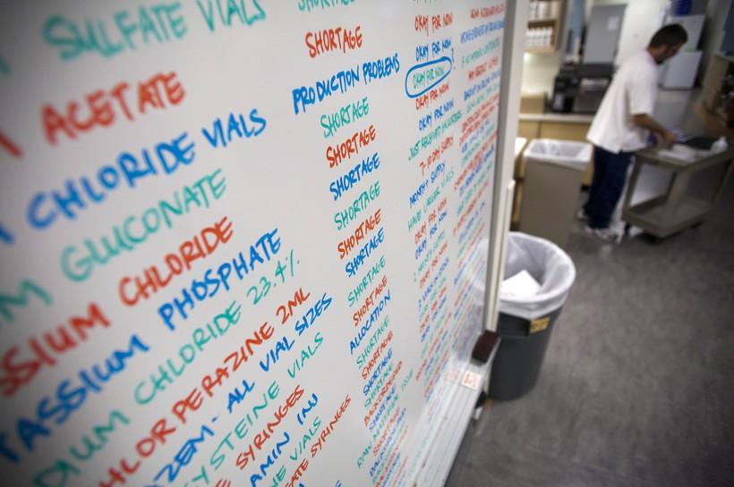 Whiteboard showing drug shortages at hospital