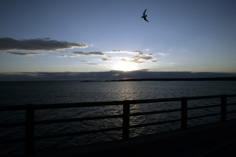 Michigan's Upper Peninsula and Lake Michigan seen from the Mackinac Bridge
