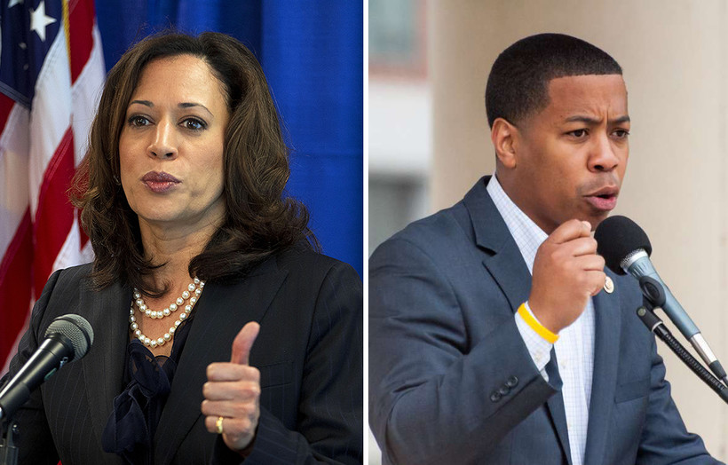 Kamala Harris and Mahlon Mitchell