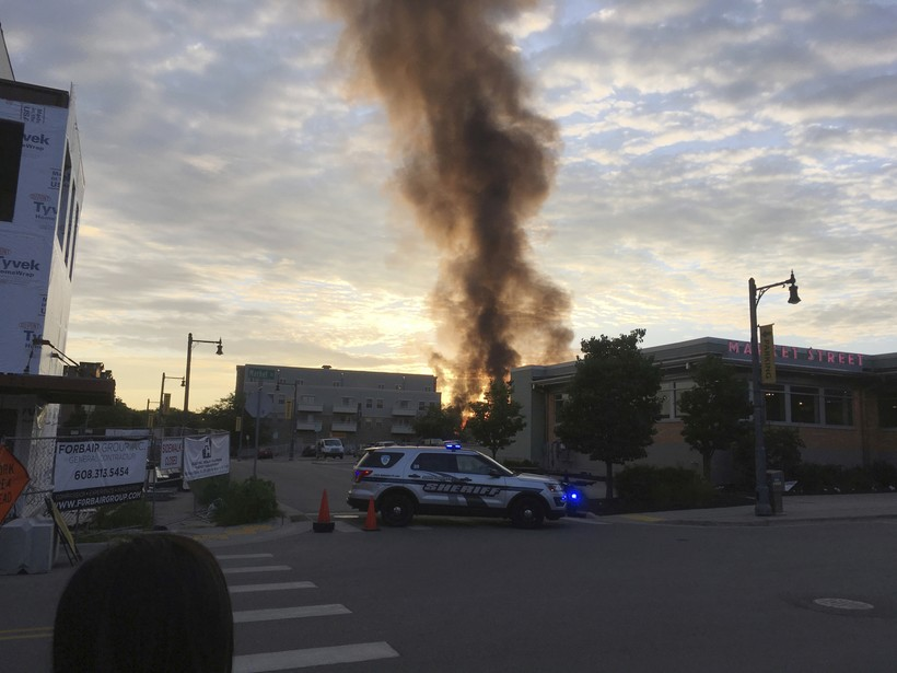 Smoke rising in downtown Sun Prairie