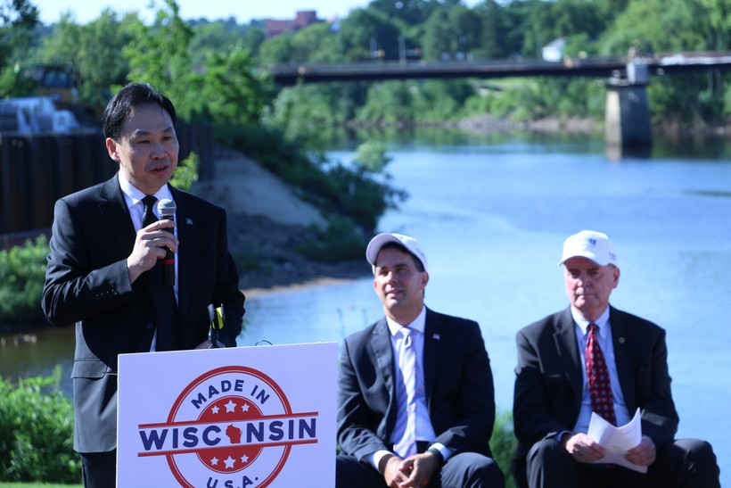 Foxconn Director of U.S. Strategic Initiatives Alan Yeung at a press conference