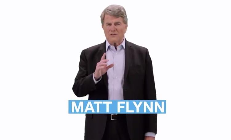 Still image from Flynn's campaign ad
