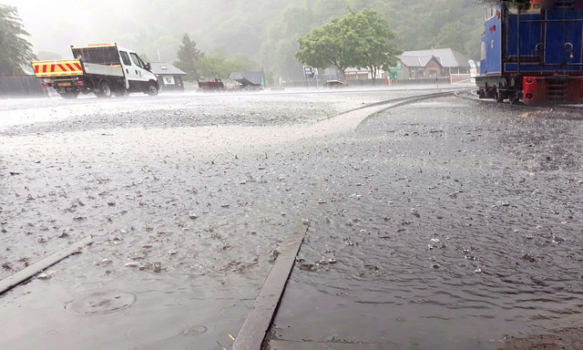 heavy downpour and flooding