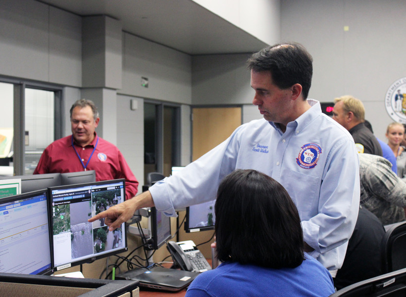 Gov. Scott Walker at the State Emergency Operations Center