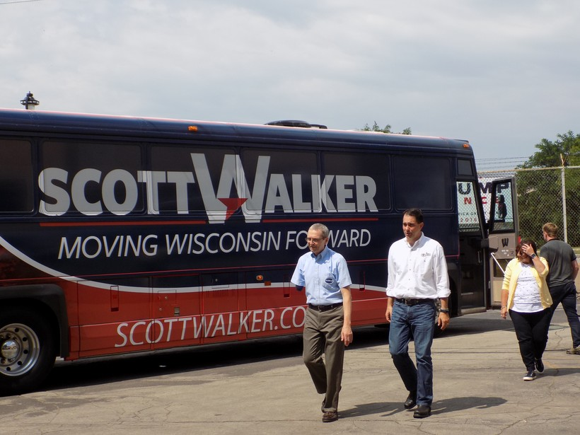 Gov. Scott Walker and his wife Tonettevisit Maynard Steel Casting Co.