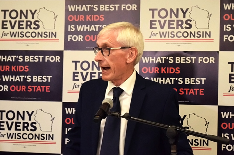 Tony Evers, gubernatorial campaign, Premier Park Hotel, Madison, governor, state superintendent, DPI