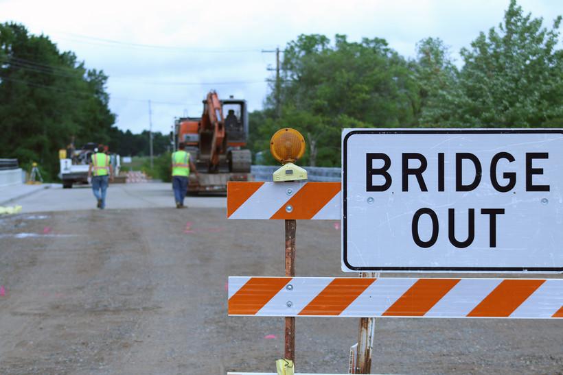 County Highway H bridge construction