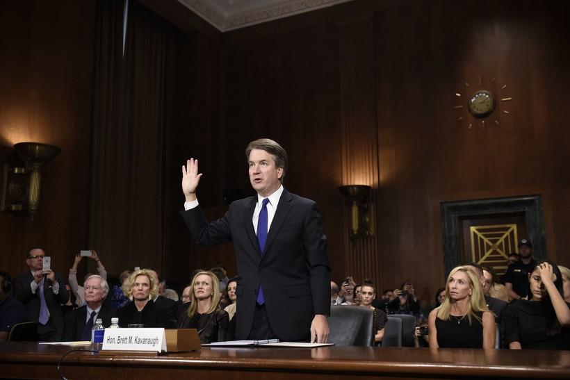 Brett Kavanaugh is sworn in to testify before the Senate Judiciary Committee