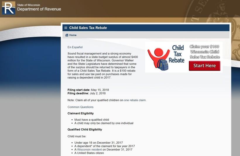 child tax rebate website