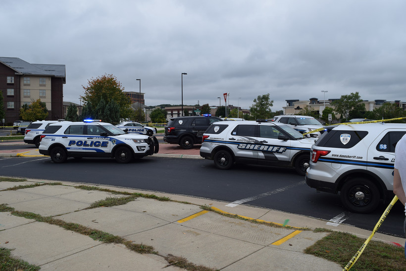 Police vehicles at Middleton shooting scene