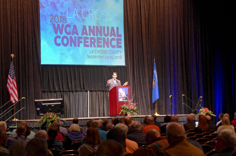 Gov. Scott Walker speaks at the Wisconsin Counties Association