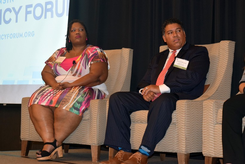 Shanyeill McCloud and Ismael R. Ozanne at a luncheon hosted by the Wisconsin Policy Forum