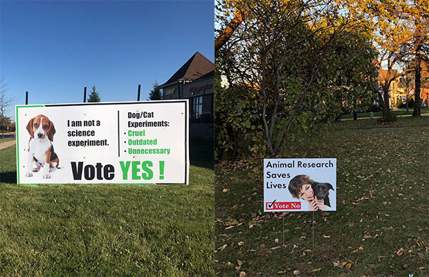 signs for and against a village of Mount Horeb referendum