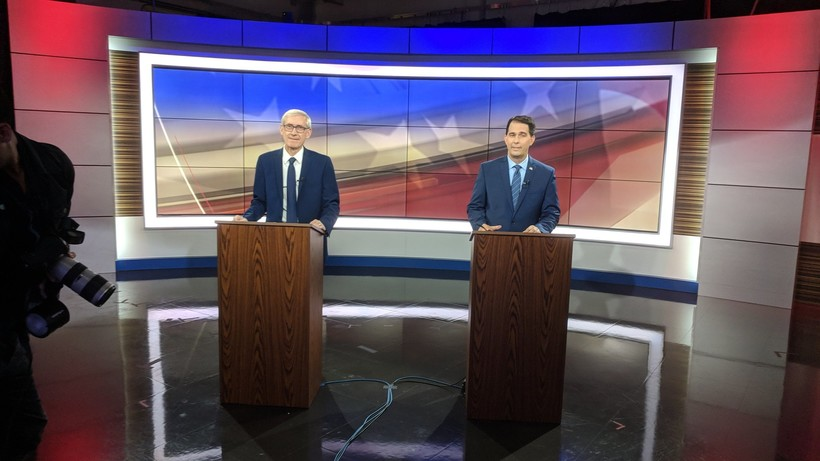 Tony Evers and Scott Walker debate in October 2018