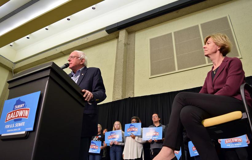 U.S. Sen. Bernie Sanders of Vermont campaigns for U.S. Sen. Tammy Baldwin