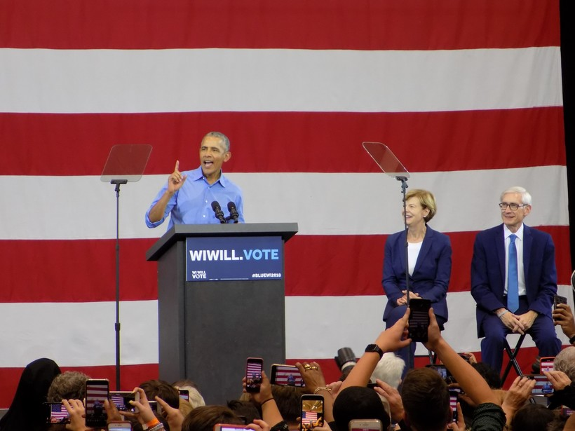 Barack Obama, Tammy Baldwin, Tony Evers, Milwaukee rally, October 2018