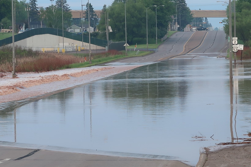Roads closed in Superior, Wisconsin due to flooding after heavy rainfall