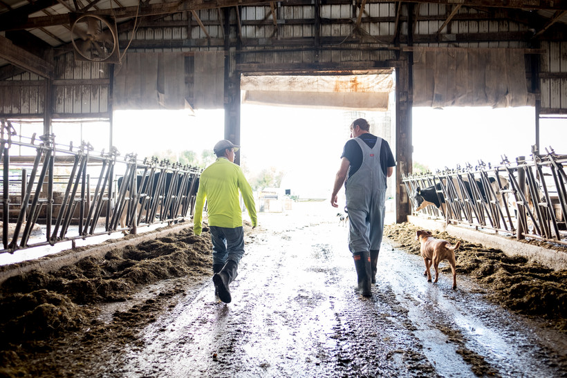Roberto Tecpile and John Rosenow walk through the dairy barn
