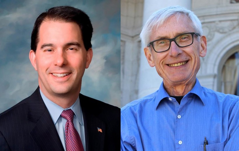 Governor Scott Walker and challenger Tony Evers