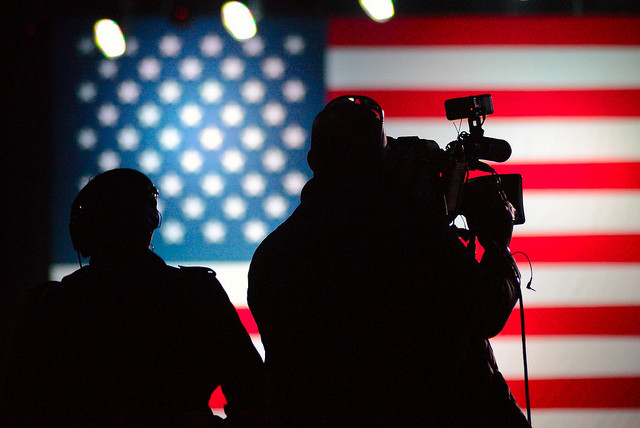 American flag, campaign, elections, cameras