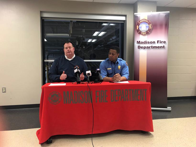 Madison Fire Chief Steven Davis and Mahlon Mitchell,
