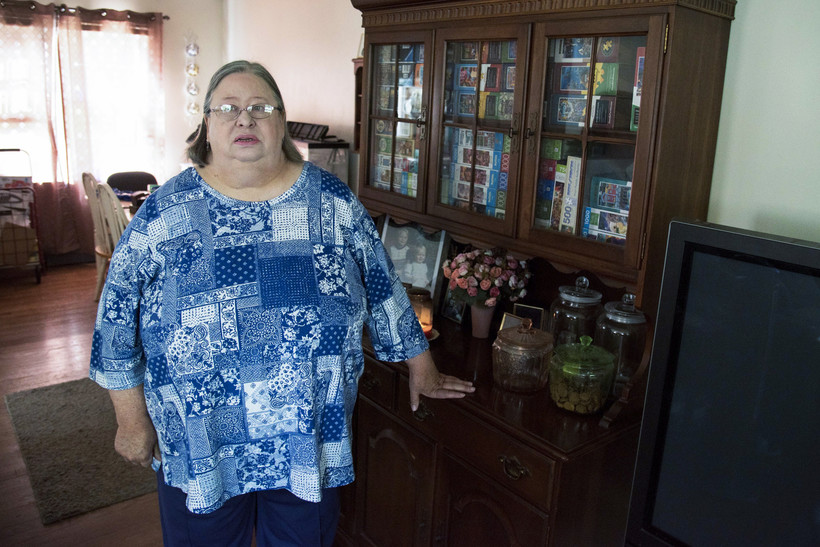 Karen Miller was laid off from her job digitizing government documents for Data Dimensions in Janesville