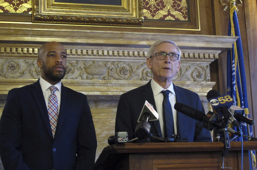 Wisconsin Governor Tony Evers and Lt. Gov. Mandela Barnes address the press.