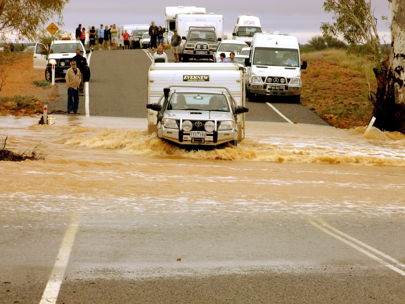 cars on flooded road