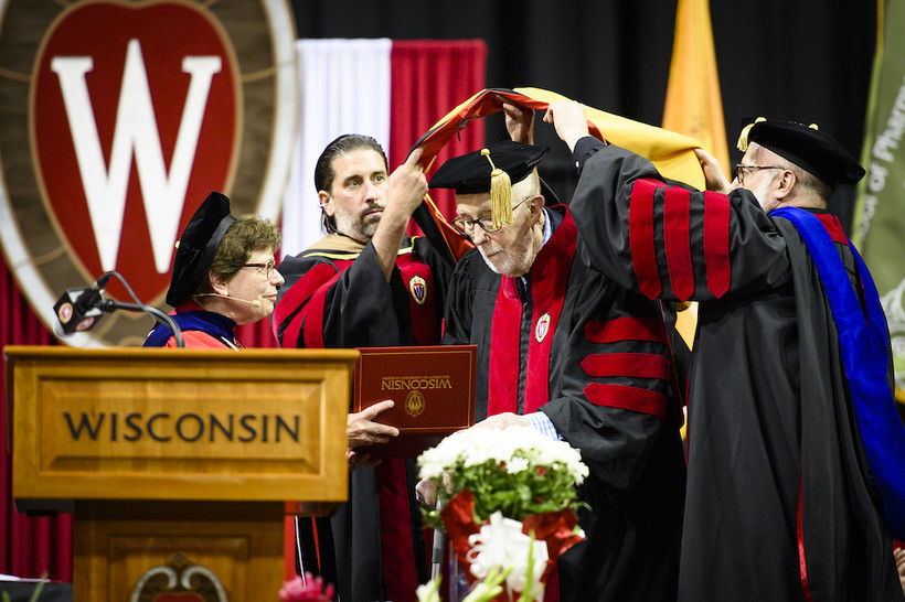 Tom Brock receives an honorary doctorate from UW-Madison