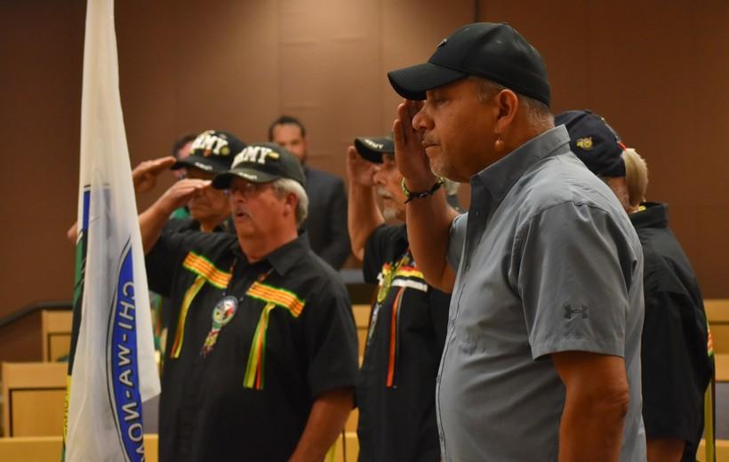 Fond du Lac Veterans Salute Tribal Flag During Ceremony