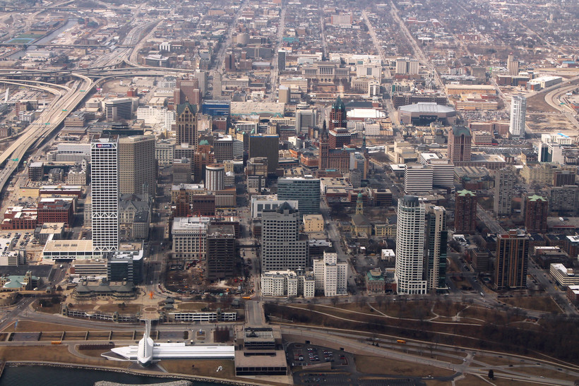 aerial view of downtown Milwaukee