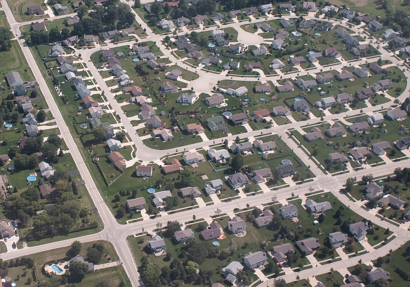 Aerial view of suburbs outside of Milwaukee