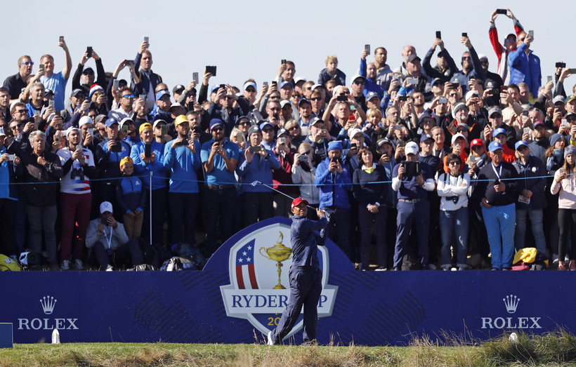 Tiger Woods of the United States plays at the 42nd Ryder Cup