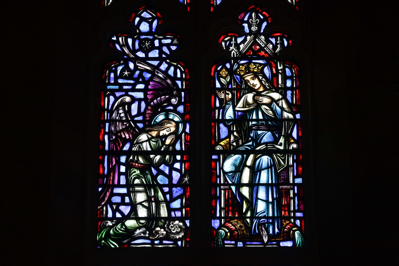 Stained glass windows at The Assumption of the Blessed Virgin Mary Church in Detroit.