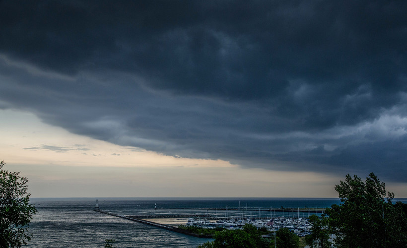 Storm clouds roll over the marina in Port Washington