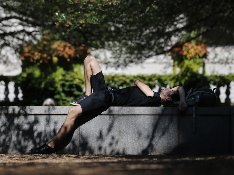 Kamil Szydlo naps in a garden at the Art Institute of Chicago