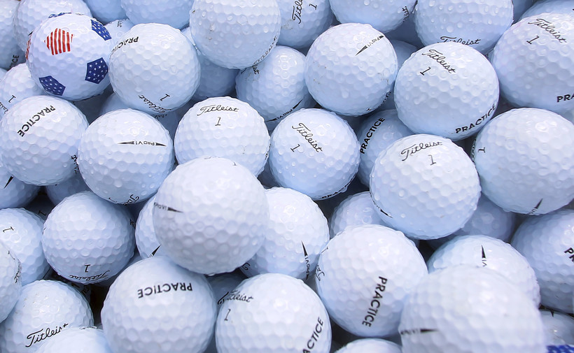 A bucket of practice golf balls