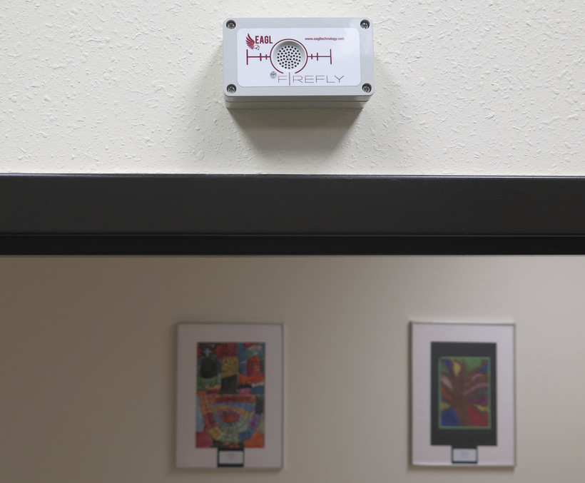A gunshot-detection sensor installed in the Kenosha Unified School District administration building
