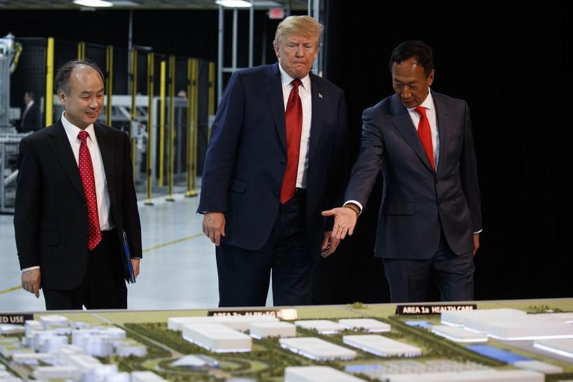 President Donald Trump takes a tour of Foxconn with Foxconn chairman Terry Gou