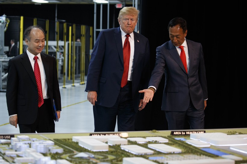 President Donald Trump takes a tour of Foxconn with Foxconn chairman Terry Gou