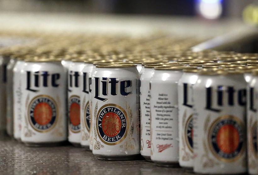 Miller Lite beer moves along on a conveyor belt